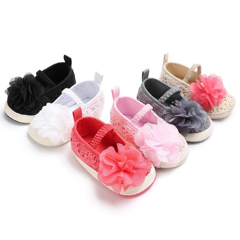 Baby Girl Newborn Shoes Spring Summer Sweet Light Mary Jane Big Flower Knitted Crochet Baby Shoes Dress Pram Crib Shoe
