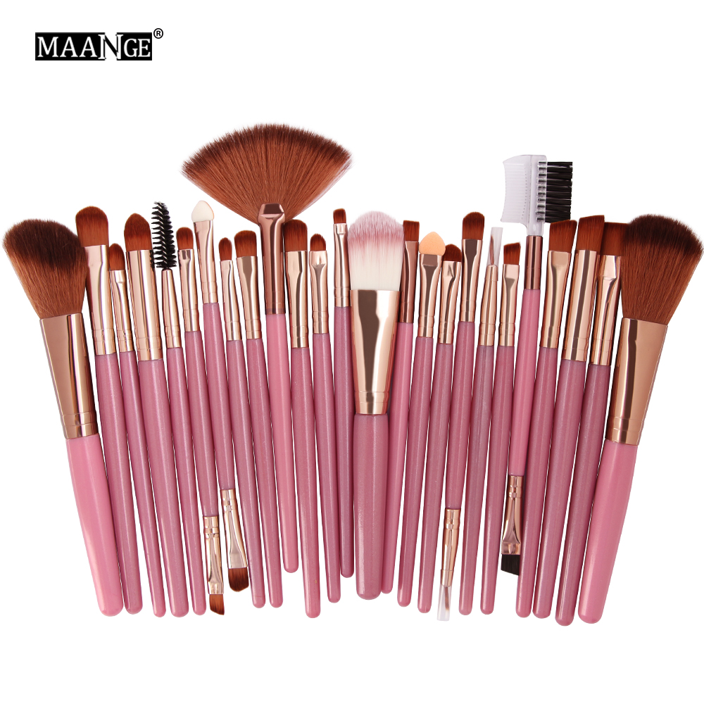 MAANGE25pcs Makeup Brushes Beauty Tool Set Foundation Blending Blush EyeShadow Brow Lash Fan Lip Face MakeUp Concealer Brush Kit brush