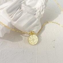 LouLeur 925 srebro okrągły mini kompas wisiorek neckalce złoty elegancki przepiękny naszyjnik dla kobiet biżuteria na urodziny prezent