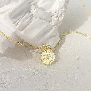 Image 1 - LouLeur 925 sterling silber runde mini kompass anhänger neckalce gold elegante exquisite halskette für frauen geburtstag schmuck geschenk