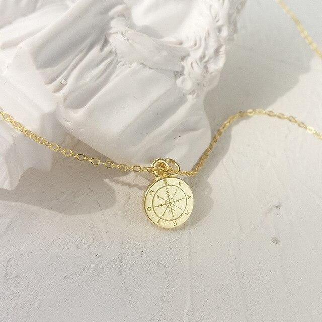 LouLeur 925 sterling silber runde mini kompass anhänger neckalce gold elegante exquisite halskette für frauen geburtstag schmuck geschenk