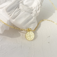 LouLeur 925 sterling silver round mini compass pendant neckalce gold elegant exquisite necklace for women birthday jewelry gift