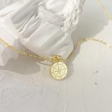 Louleur 925 prata esterlina redonda mini bússola pingente neckalce ouro elegante requintado colar para presente de jóias de aniversário feminino