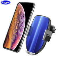 Auto Clamp Car Wireless Charger Riggler Aurora Glass Charge Mount for Samsung S9/S9+ S8 Note8 Iphone XS X 10W Fast Charge Holder