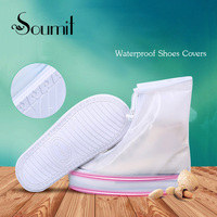360 Degree Sealed Reusable Windproof Zipper Closure White Protection Shoe Covers With 30MM Wear Resistant Layer