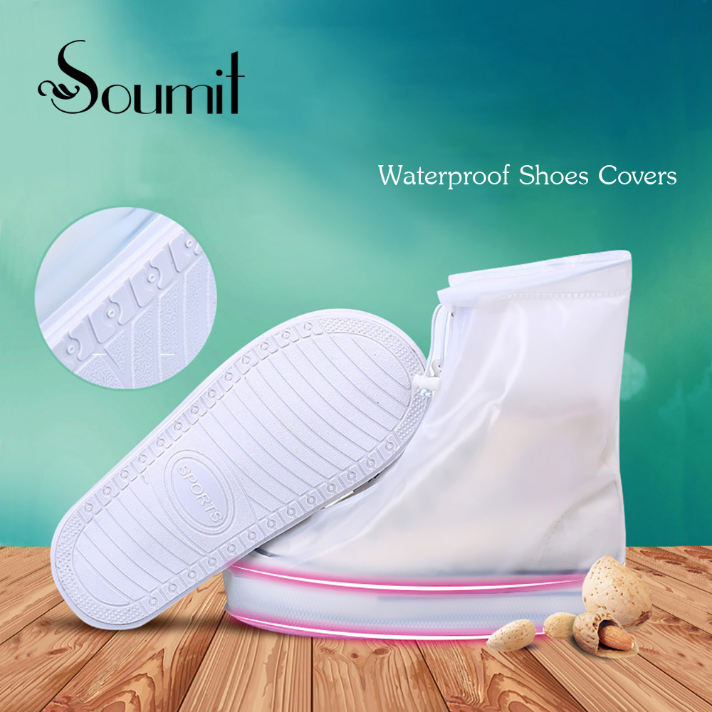 Soumit Unisex Waterproof Rain Reusable Shoes Covers Rain Boot Overshoes All Seasons Men Women Protection Shoe Covers Accessories