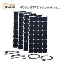 BOGUANG 4pcs 100w 18V ETFE light flexible solar panel system for marine home RV yacht car 12v 24v battery charger high grade