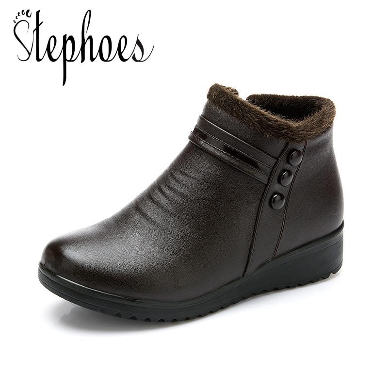 5722d34c Botas Felpa Negro Metal marrón Mujer Cortas Tobillo Zapatos Cuero Nieve  Invierno De Stephoes Genuino Caliente Mujeres Moda AwxRRI