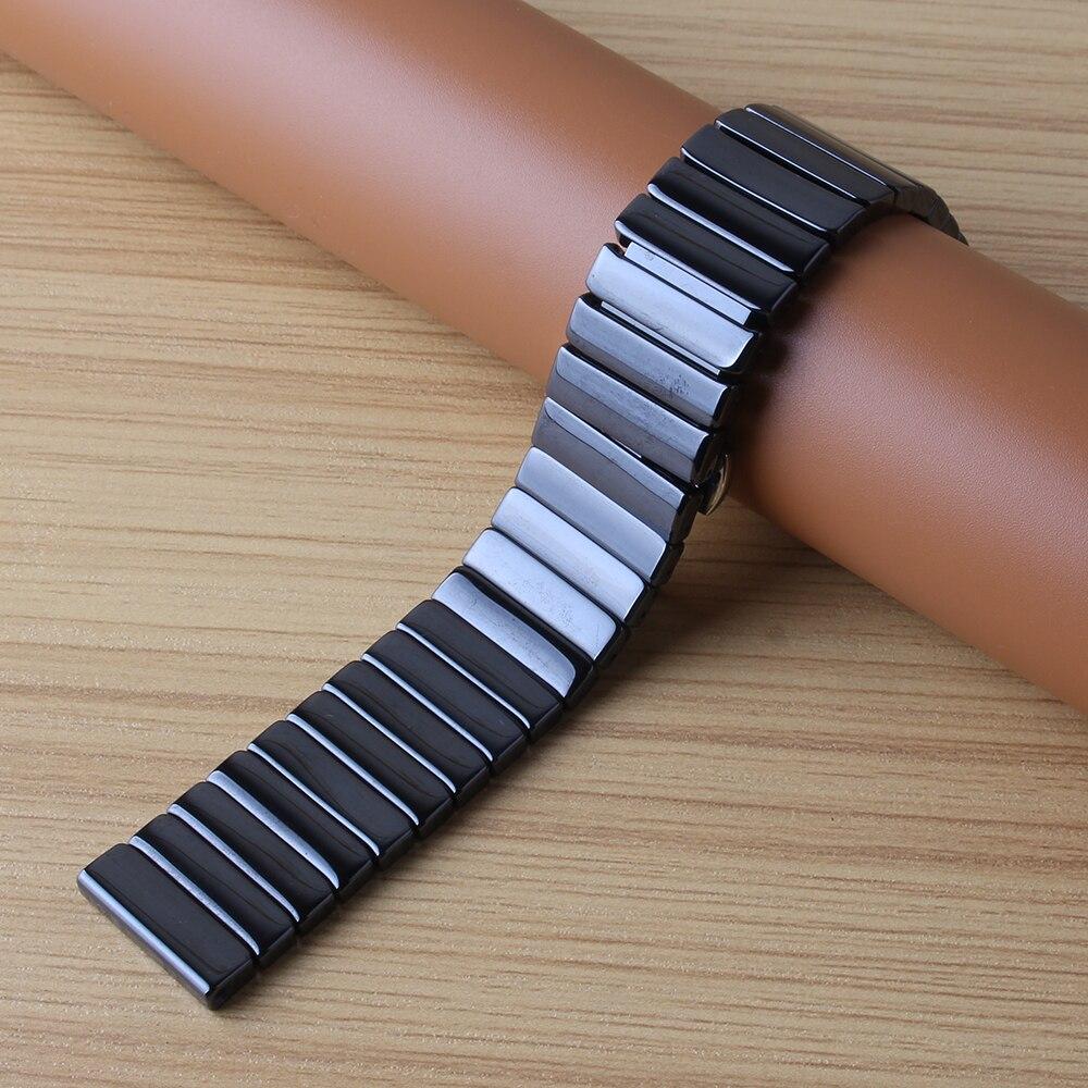 Bracelet de montre en céramique bracelet de montre 20mm 22mm 24mm bracelet de montre-bracelet blanc noir papillon boucle accessoires de montre pas fade - 2
