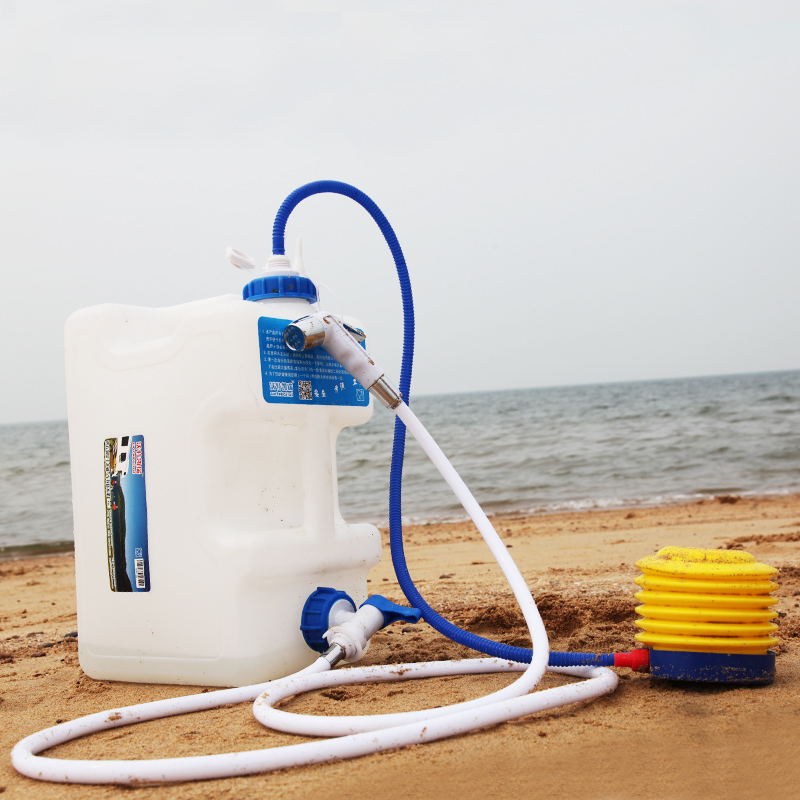 15l outdoor portable pressure shower equipment drinking water tank camping travel car pets for Portable watering tanks for gardens