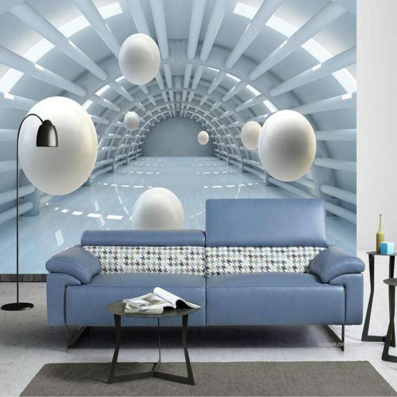 3d Wallpaper For Living Room Home Improvement Modern Background Wall Painting Mural Silk Paper Abstract Tunnel Space