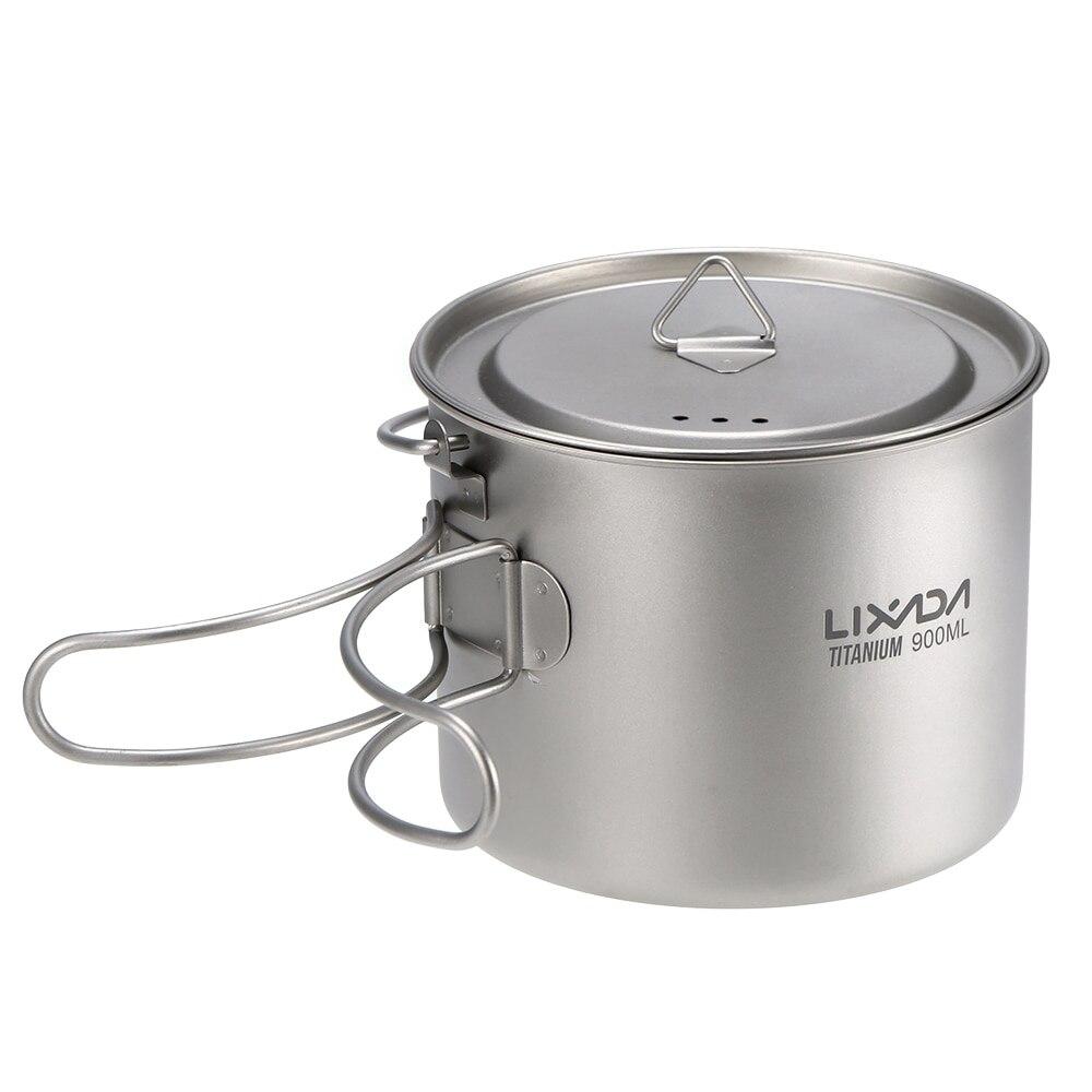 Lixada 900 ml Ultra-Léger tasse en titane Tasse tasse portable Suspendu casserole avec couvercle Tasse D'eau Extérieure Camping Pique-Nique Mug à eau Vaisselle