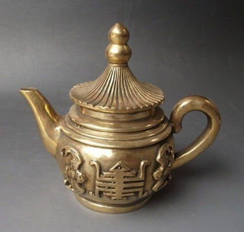 """Exquisite Rare Chinese Brass Engraving  """"fu""""  Teapot"""