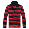 New Brand 2014 Free Shipping High Quality Men Long Sleeve Polo Shirts Cotton Shirts Male Striped Casual Tops Tees lxy346