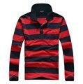 Nueva marca de fábrica 2014 alta calidad envío gratuito hombre Polo de manga larga camisas de algodón camisas Casual rayas Tops Tees lxy346