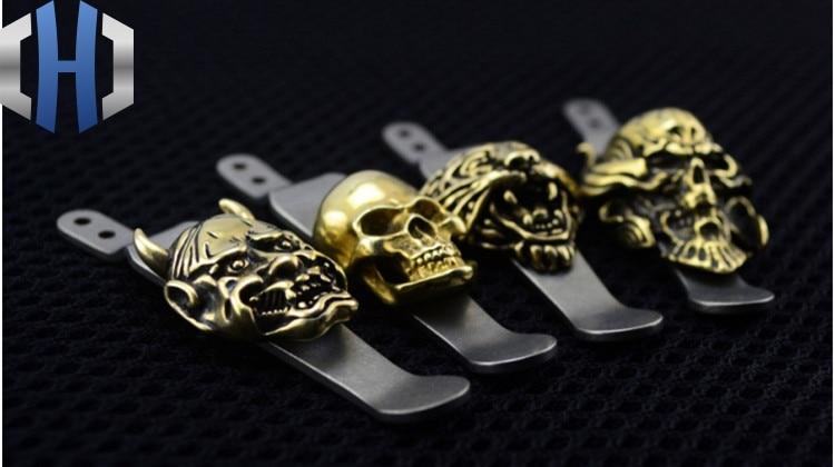 XM-18 Design TC4 Titanium Pocket Knife Clip+BRASS Skeleton Money Knife Clip EDC Multi Tools