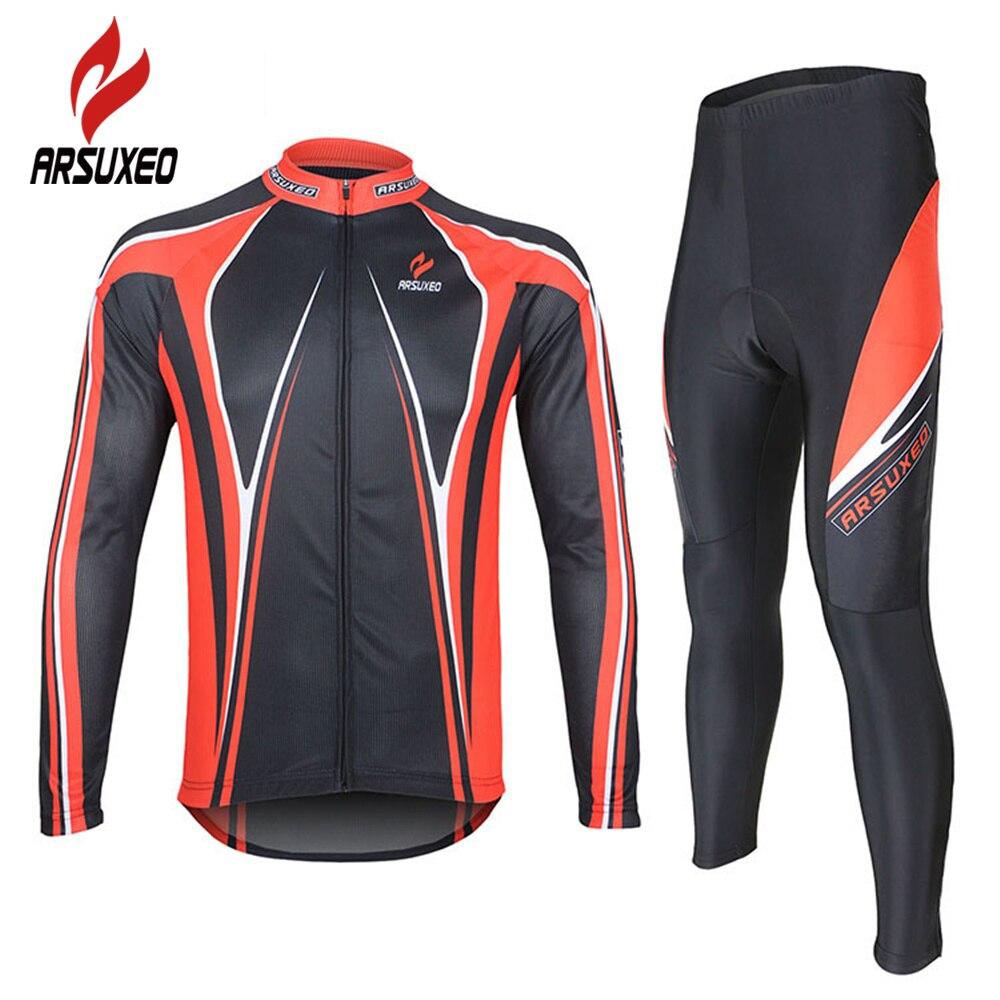 ARSUXEO maillot de vélo de route respirant à manches longues + collants 3D Coolmax Gel pané maillot de cyclisme pour hommes vêtements