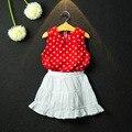 Sistema de la Ropa al por menor 2016 Nuevos Verano Muchachas de Los Cabritos de punto rojo t camiseta blanca + falda Trajes de Los Bebés Conjunto de moda Muchacha de Los Niños ropa