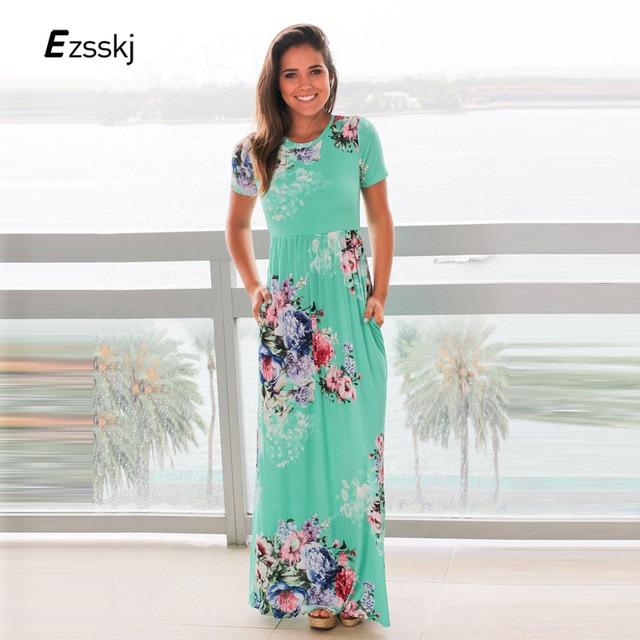 78bd418b8d6 Ezsskj Women Floral Print Long Dress Plus Size Maxi Floral Dress Rose  Casual Women Boho Bohemian Summer Beach Dress 2XL 3XL