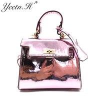 Yeetn.H New Arrival Woman Handbags Casual Tote Bag PU Leather Women Shiny Messenger Bags Free Shipping Drop Shipping M7441