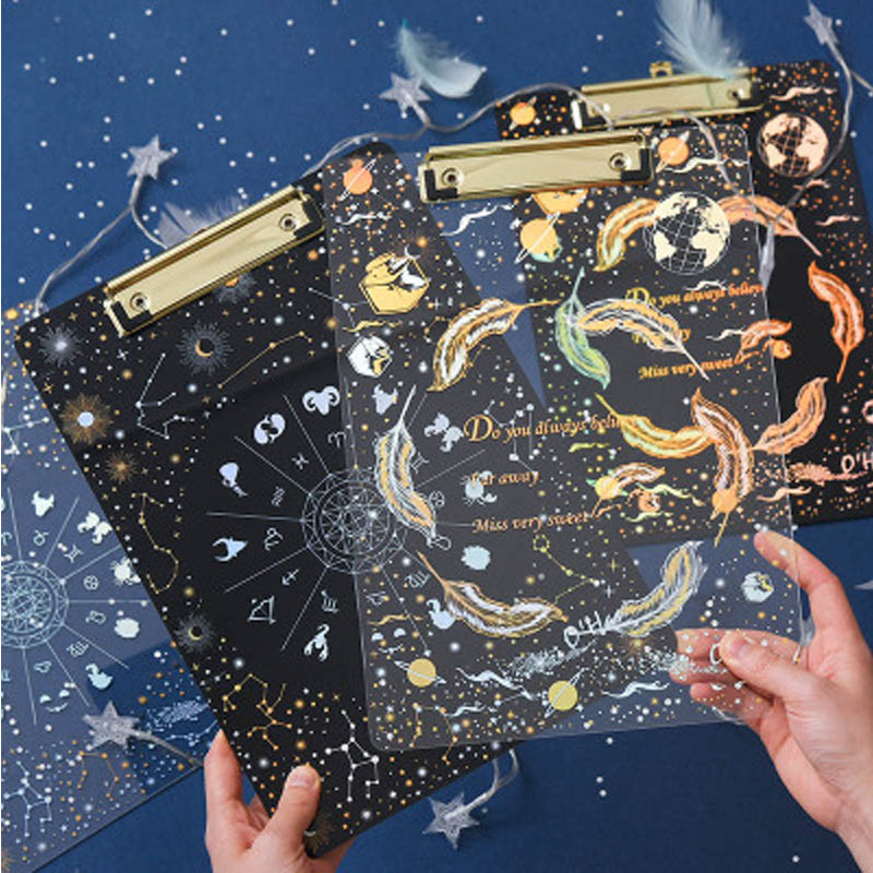 Yiwi Creative Starry Sky A4 Clipboard Acrylic File Folder Writing Pads School Office Supply Stationery