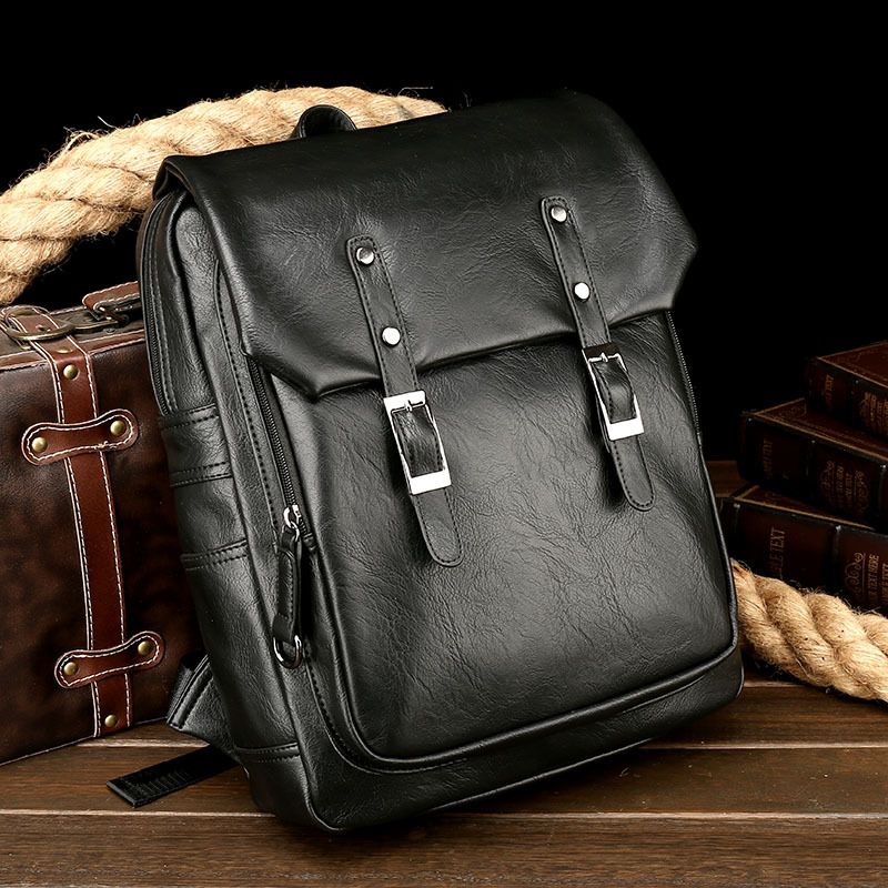 New casual men's shoulder bag retro PU leather vertical section square male bag fashion trend travel computer backpack aetoo retro leatherbackpack bag male backpack fashion trend new leather travel bag