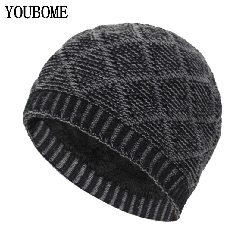 YOUBOME Fashion   Skullies     Beanies   Men Winter Knitted Hats For Men Women Gorros Bonnet Soft Thick Warm Male   Beanie   Winter Hat Cap