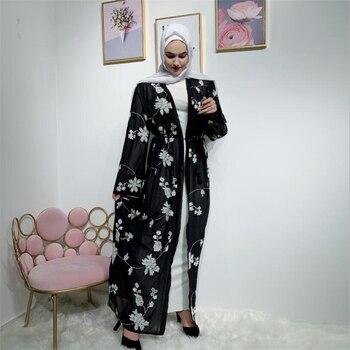 Black Long Cardigan | 2019 Open Front Floral Long Kimono Abaya For Muslim Women Arab Turkey Dubai Black Abaya Cardigan Islamic Ladies Maxi Abaya