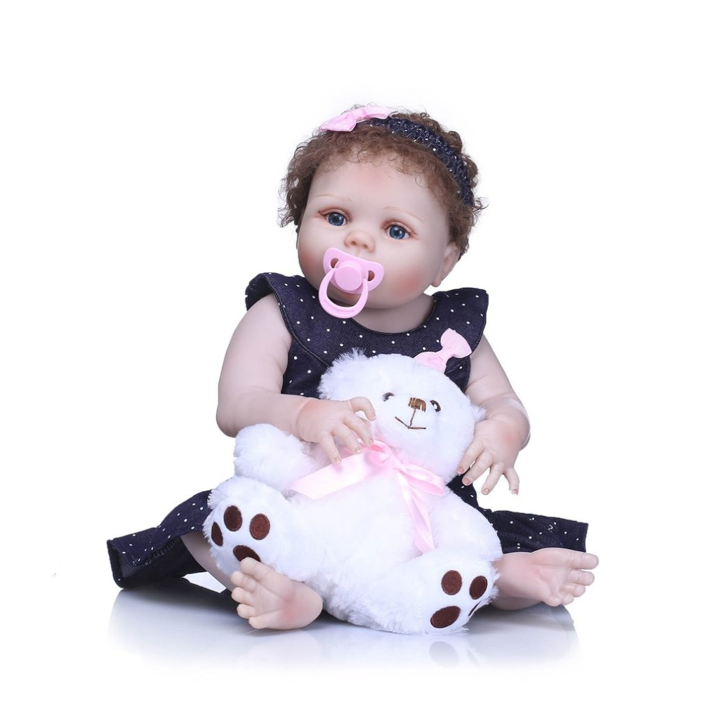 55/56CM Kawaii Lifelike Silicone Reborn Baby Girls Newborn Baby Dolls Infant Clothes Truly Kids Playmates Best Gift kawaii baby dolls