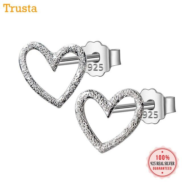 Trusta 925 стерлингового серебра Серебряные ювелирные изделия Для женщин модные милые маленькийе 0,8 см X 0,9 см полые серьги в виде сердца, подарок для девочек Дети Леди DS196
