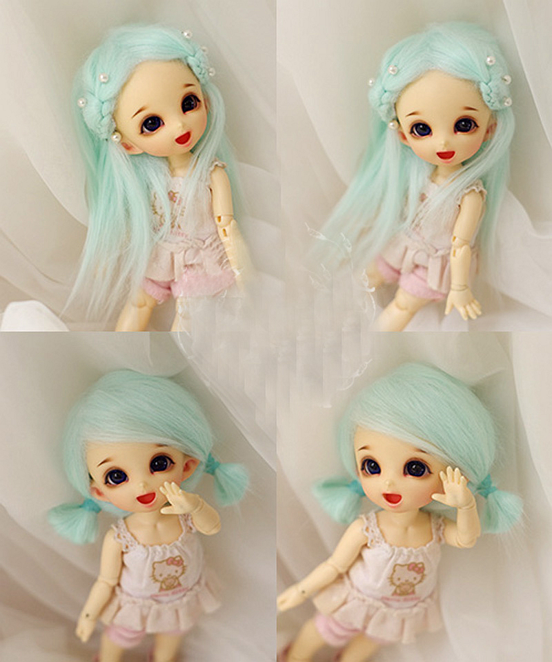 Aqua Blue Wool Hair Wig For AE PUKIFEE LATI 1/8 BJD Dollfie 14cm 1 3 1 4 1 6 1 8 1 12 bjd wigs fashion light gray fur wig bjd sd short wig for diy dollfie