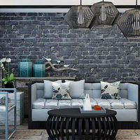 Vintage Embossed Wallpaper Brick Wall Roll Modern Grey And Red 3D Effect Brick PVC Wallpaper For