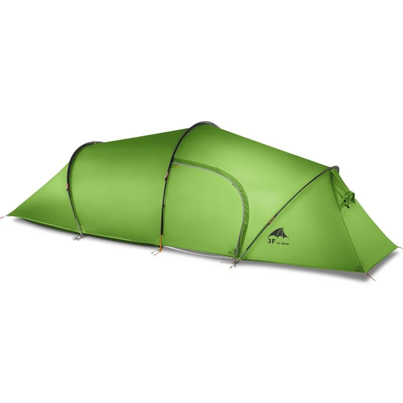 3f ul vitesse 2 personne 2 chambre 4 saison Tunnel tente 15D de silicium camping en plein air randonnée escalade ultra-léger grand espace 210 T tentes