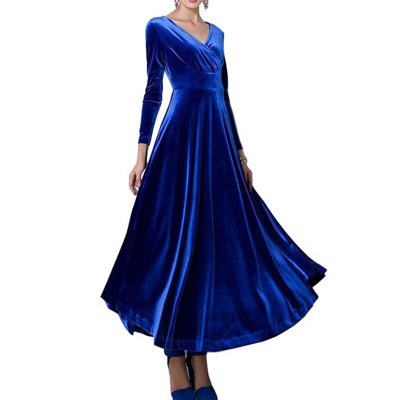 2018 Women Lady Sexy V Neck Velvet Long Sleeve font b Dress b font Evening Party