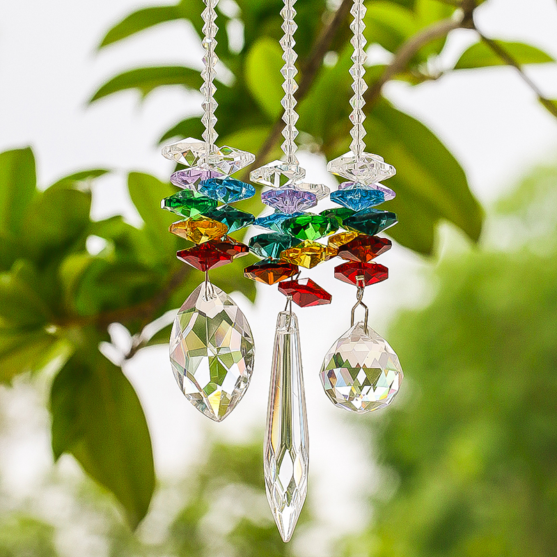 H&D Chandelier Crystals Prisms Window Sun Catcher Collection Rainbow Octogon Chakra Suncatcher Decor Gift, Set Of 3