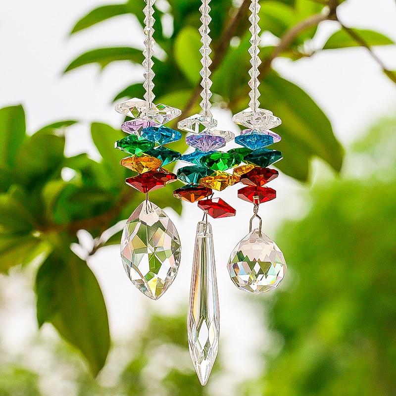 H&D Chandelier Crystals Prisms Window Sun Catcher Collection Rainbow Octogon Chakra Suncatcher Decor Gift, Set Of 3