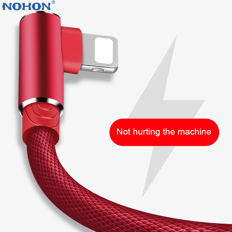 90 Degree USB Charger Data Cable For iPhone 6 S 6S 7 8 Plus 5 5S X XR XS Max On iPad Phone Cord Origin Long 1M 2M 3M Fast Charge