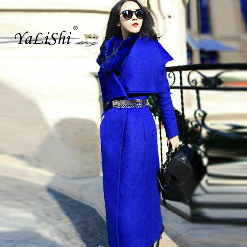 Plus Size Autumn Women Fashion Autumn Winter Coats 2018 Black Blue Long Sleeve Turn down Collar Casual Woollen Long Coat Ladies