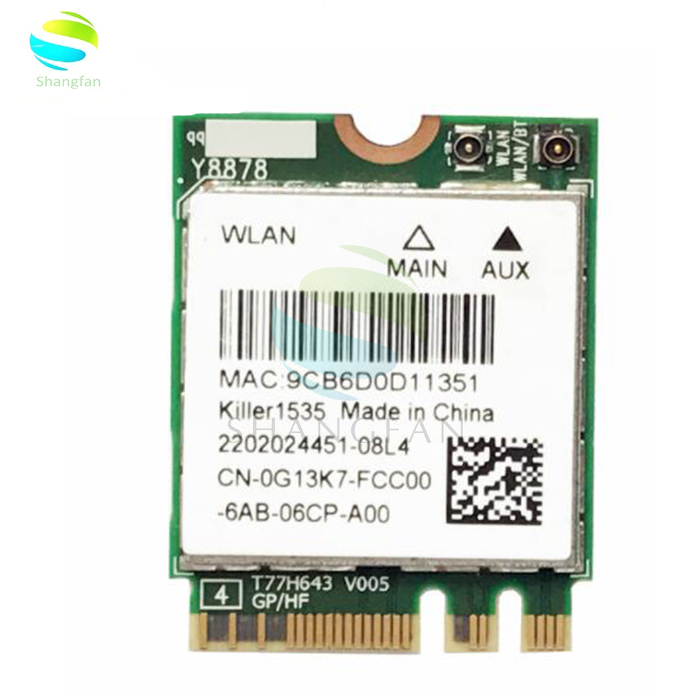 Wifi Adapter For MSI GT72/GT80/GS60/GE62/GE72/PE60/PE70 Dell Alienware 13 R2 17 Killer 1535 Atheros QCNFA364A 802.11ac NGFF Card