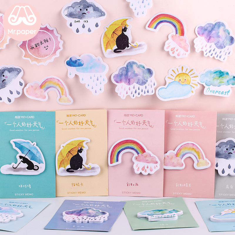 Mr Paper 30pcs/lot 10 Designs Good Weather Rainbow Sunny Rainy Memo Pads Sticky Notes Diary Creative Self-Stick Notes Memo Pads