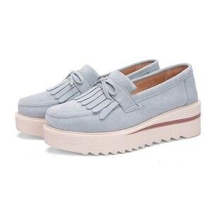 Image 3 - Plardin New Women Shoes Loafers Sneakers Genuine Leather Flat Platform  fringe Moccasins Ladies Female Fashion Shoes Woman