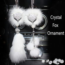 Car Rear View Mirror Charm Crystal Bling Fox Hanging Ornament Rhinestone Interior Decor Lucky Pendant