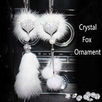 Car Rear View Mirror Charm Crystal Bling Fox Hanging Ornament Rhinestone Interior Decor Crystal Fox Lucky Charm Pendant