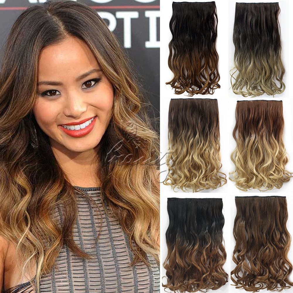 24 60cm wavy curly weaves clip in hair extensions 5 clips de cheveux ombre dip dye hair one. Black Bedroom Furniture Sets. Home Design Ideas