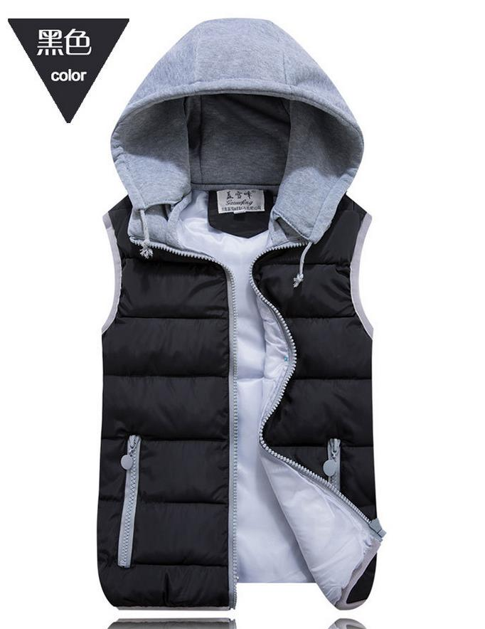 women's cotton wool collar hooded down vest female wild ladies waistcoat vest female winter warm Jacket&Outerwear