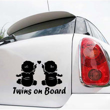 Hot sale 19*12.6cm Automotive Vinyl Stickers For Cars Styling Car VehicleTwins Baby On Board Car Sticker Decals(China)