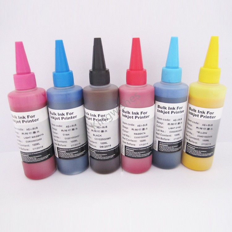 ФОТО Free Shipping 6 Color Sublimation Ink For Epson EP-977A3 EP-907F EP-807 EP-707A EP-777A BK M Y C LM LC