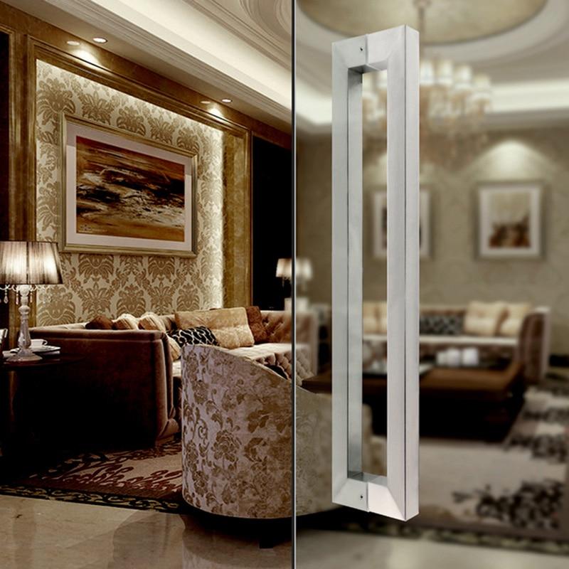 Brushed stainless steel 8 12mm door handle square tube glass Door Handles Hardware barn door handles wooden door in Door Handles from Home Improvement