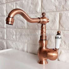 Hot and Cold Swivel Bathroom Basin Faucet Brass Vessel Sink Water Tap Mixer Antique Red Copper Knf403
