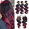 Borgonha cabelo brasileiro com fechamento 1b/99j ombre corpo onda com lace closure 3 pacotes com fechamento lace closure com feixes